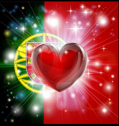 Love portugal flag heart background vector