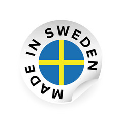 made in sweden sticker tag vector image