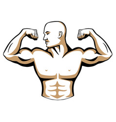 Male body builder logo vector