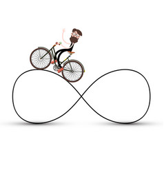 man on bicycle on infinite road symbol vector image