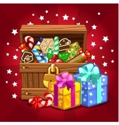 Open wood treasure chest with candy and cookies vector image vector image
