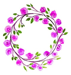 Pink flower watercolor wreath for beautiful design vector