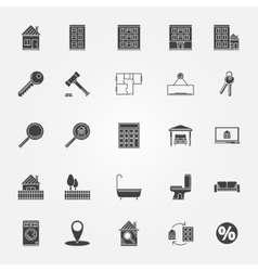 Real estate or interior icons set vector image vector image