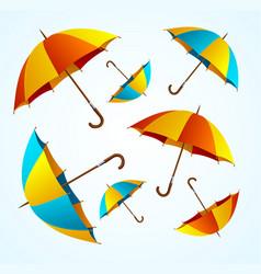 Realistic 3d detailed color umbrella falling set vector