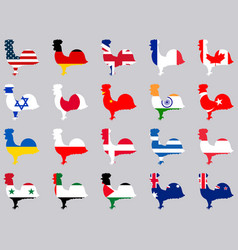 roosters with flags of different countries vector image vector image