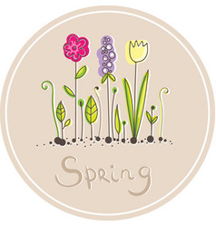round sticker with hand-drawn flowers vector image vector image