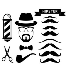 set of hipster barber elements vector image