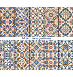 set of ten seamless patterns vector image vector image