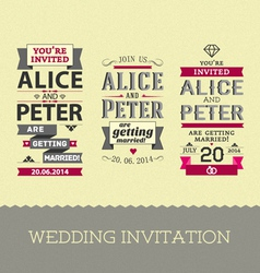 Set of wedding stamps invitations vector image vector image