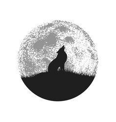 Silhouette of howling wolf on full moon background vector