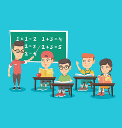 young teacher explaining to children mathematics vector image
