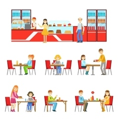 People in sweet pastry cafe set of vector