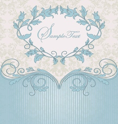 Blue floral card vector