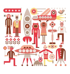 Humans and aliens vector