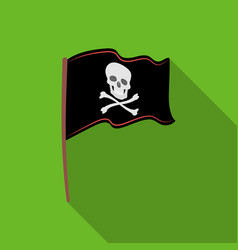 Pirate flag icon in flat style isolated on white vector