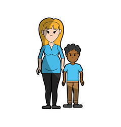 Woman mother with her son and casual cloth vector