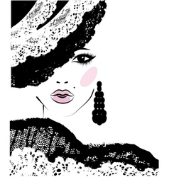 Girl with in a lace hat fashion vector