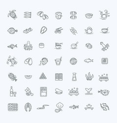 fish and seafood - outline icon collection vector image