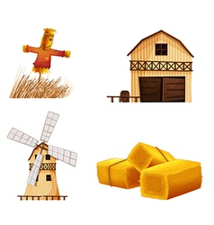 Barn houses hays and a scarecrow vector image