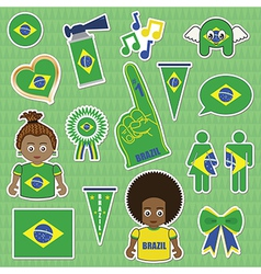 Brazil supporter stickers vector