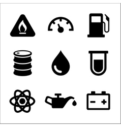 Gasoline diesel fuel service station icons set vector