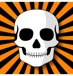 White skull on black orange beams vector