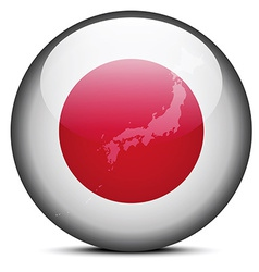 Map on flag button of state of japan vector