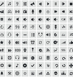 100 audio icons vector