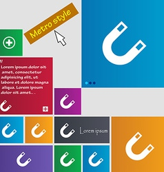 Magnet horseshoe icon sign metro style buttons vector