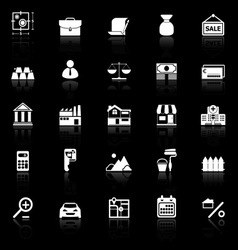 Mortgage and home loan icons with reflect on black vector