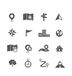 Set of map navigation icon vector