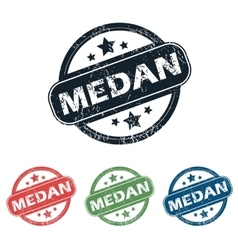 Round medan city stamp set vector