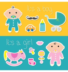 Its a boy girl banner set baby shower card with vector