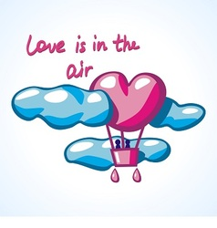 Air balloon in a shape of heart in clouds vector