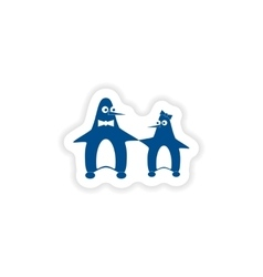 paper sticker on white background couple penguins vector image