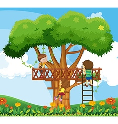 Children climbing up the tree in the garden vector