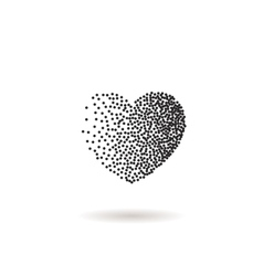 Heart shape snow black dots and confetti vector