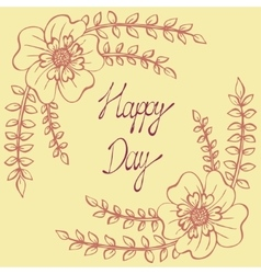 Happy day vintage background with ancient flowers vector