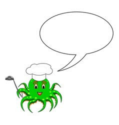 A funny cartoon octopus in a chef hat vector