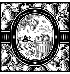 Apple harvest black and white vector image vector image