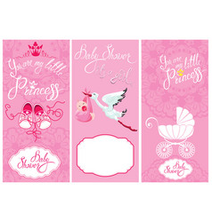Baby girl shower set party decoration scrapbook vector