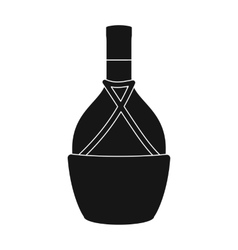 Bottle of wine icon in black style isolated on vector image