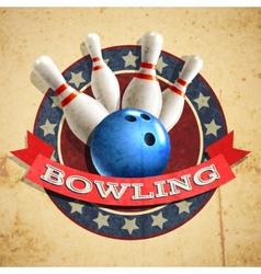 Bowling emblem background vector