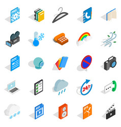Business app icons set isometric style vector