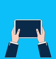 business man hands holding digital tablet computer vector image