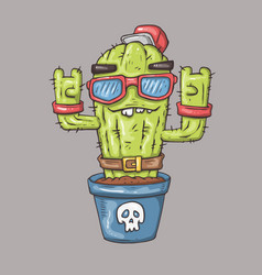 cartoon cactus character for web and print vector image vector image