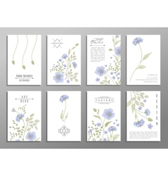 collection of cute invitation cards with flowers vector image vector image