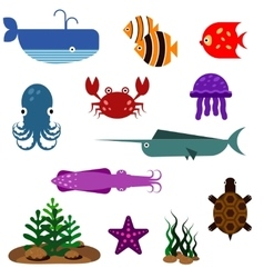 Flat fish icons set vector image vector image