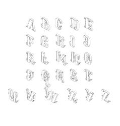 Full set of isometric alphabet vector image