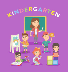 group of children with teacher in the kindergarten vector image